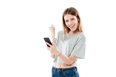 woman holding a phone